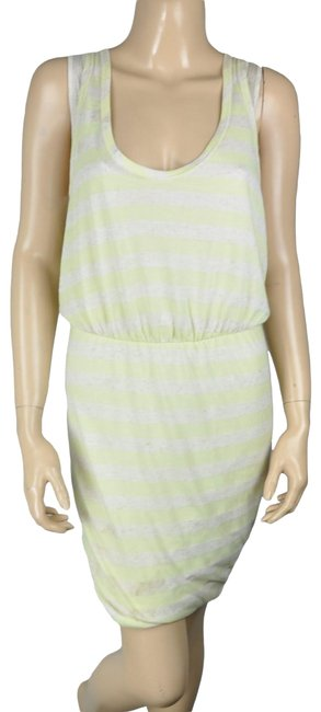 Item - Yellow Bcbg Lime White Striped Sheath Cocktail Dress Size 6 (S)