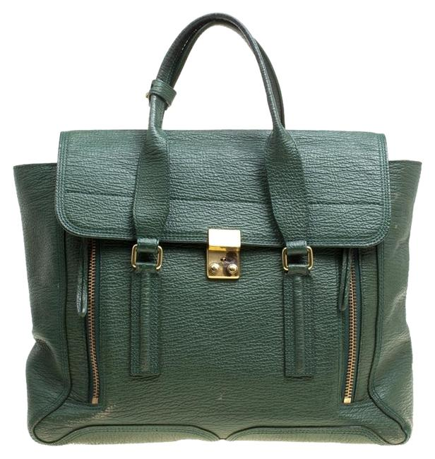 Item - Top Handle Large Pashli Green Leather and Fabric Shoulder Bag