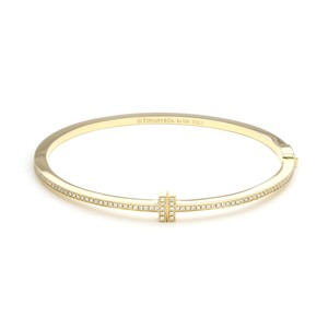 Tiffany & Co. Two T Diamond 18k Yellow Gold Hinged Bangle Bracelet
