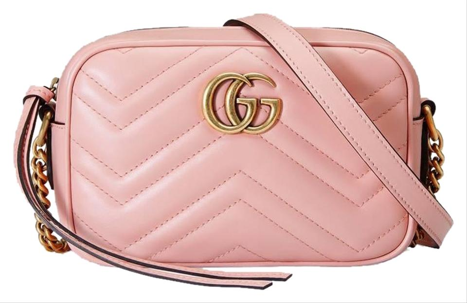dbac5faed89c31 Gucci Camera Marmont Mini Quilted Gg Pink Leather Cross Body Bag ...