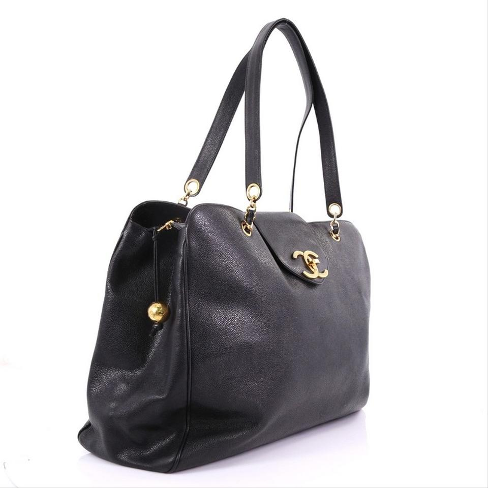 9ad96d971c1a Chanel Supermodel Vintage Weekender Caviar Large Black Leather Tote ...