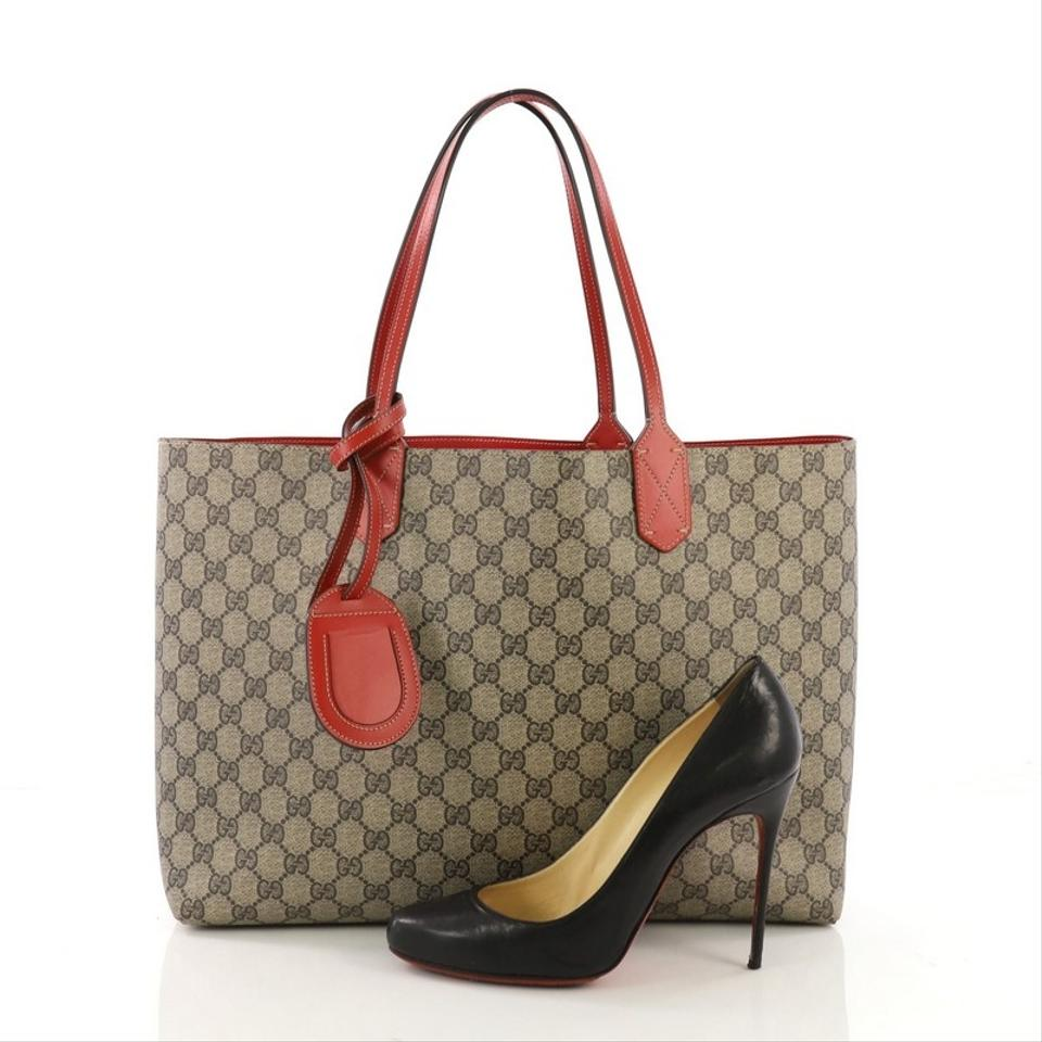 27bb9a06047d51 Gucci Reversible Gg Print Medium Brown and Red Leather Tote - Tradesy