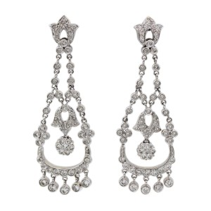 Other 14K White Gold 1.75CT Diamond Hanging Antique Earrings