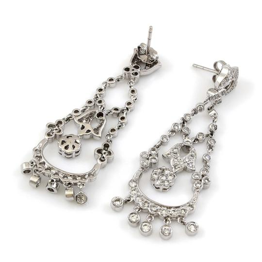 Other 14K White Gold 1.75CT Diamond Hanging Antique Earrings Image 1