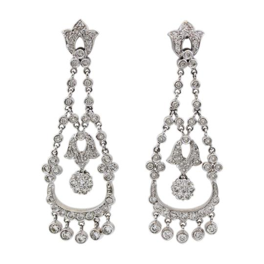 Other 14K White Gold 1.75CT Diamond Hanging Antique Earrings Image 2