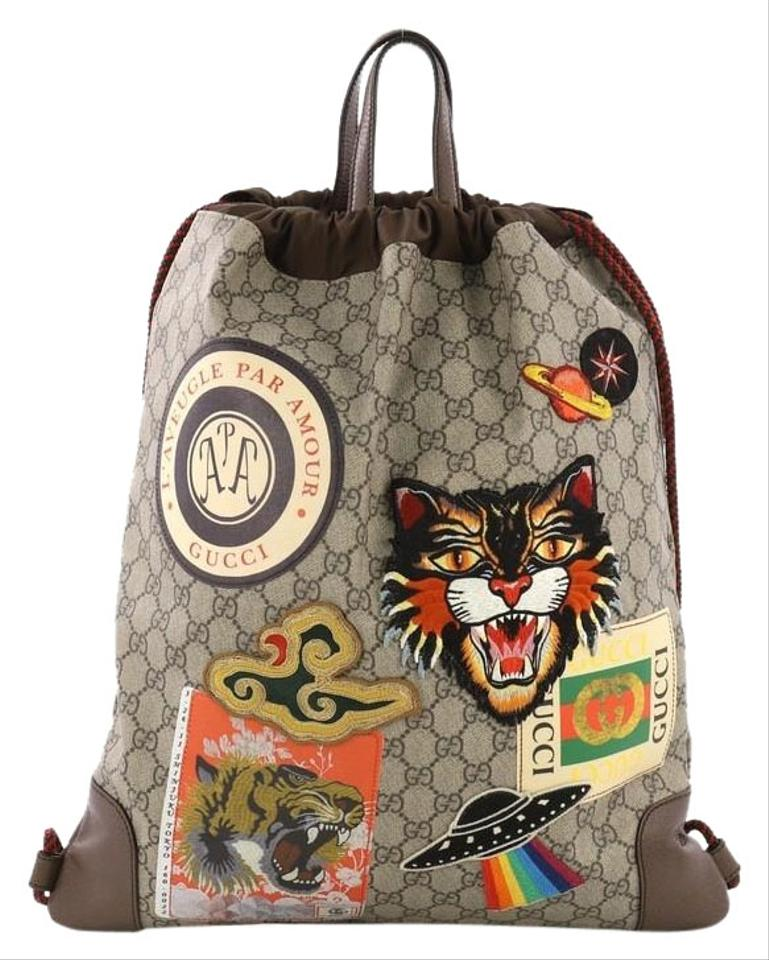 48fef98d6dd Gucci Courrier Soft Drawstring Coated with Applique Mediu Brown ...
