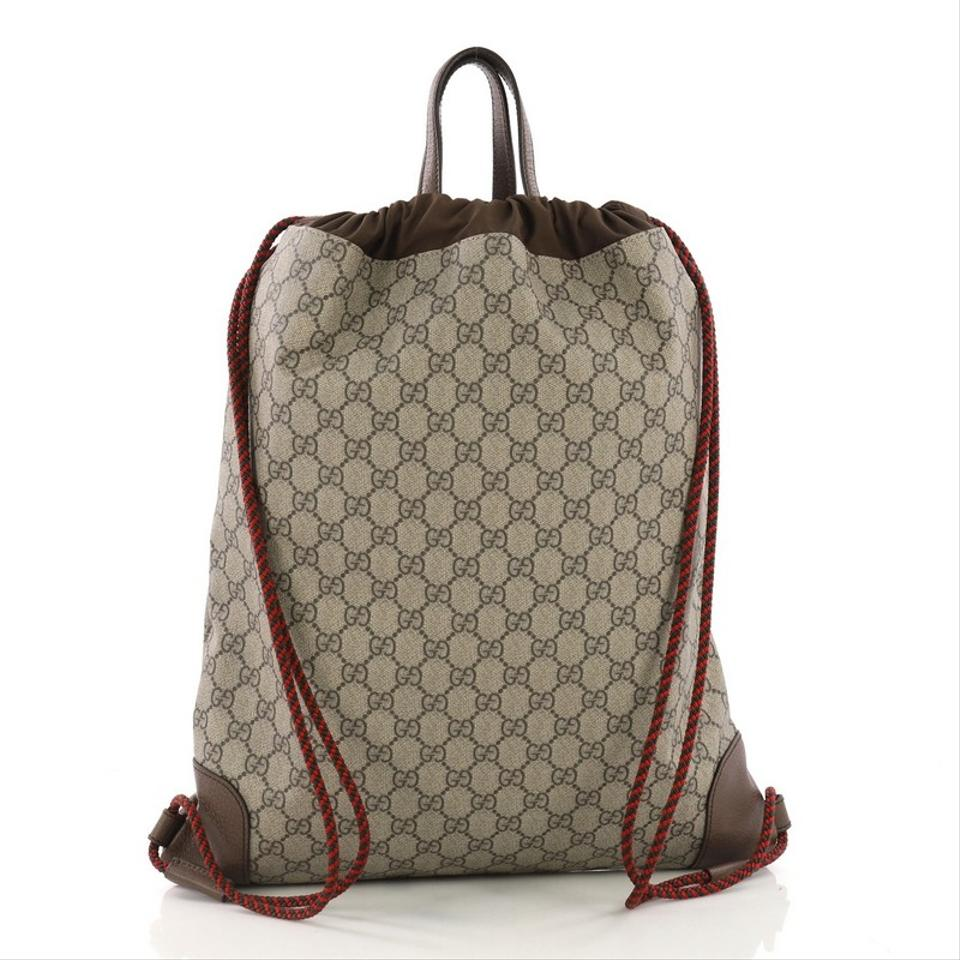 014ef006630 Gucci Courrier Soft Drawstring Coated with Applique Mediu Brown Canvas  Backpack - Tradesy