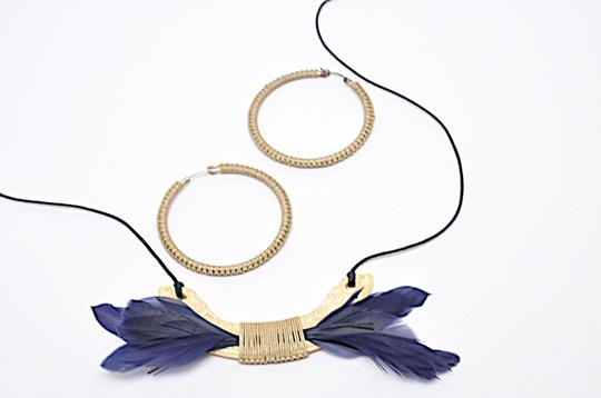 Dolce of Telluride CO DOLCE of Telluride Carved Bone Feather Pendent Necklace + Hoop Earring Image 7