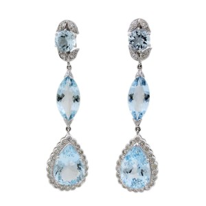 Other 18K White Gold Aquamarine Teardrop Earrings #18481