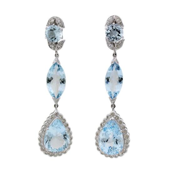 Other 18K White Gold Aquamarine Teardrop Earrings #18481 Image 1
