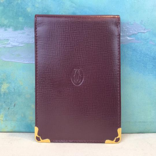 Cartier Cartier Maroon Red Grained Leather Compact Bifold Notepad ID Wallet Image 1
