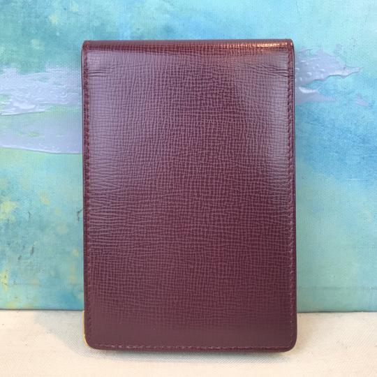 Cartier Cartier Maroon Red Grained Leather Compact Bifold Notepad ID Wallet Image 2