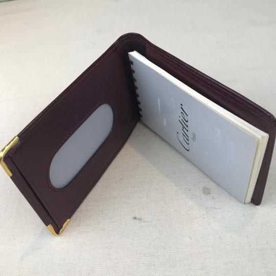 Cartier Cartier Maroon Red Grained Leather Compact Bifold Notepad ID Wallet Image 9