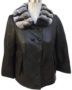 Sam Rone black fur leather Leather Jacket