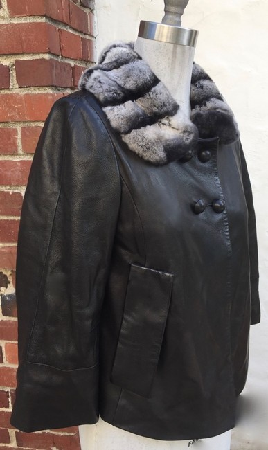 Sam Rone black fur leather Leather Jacket Image 4