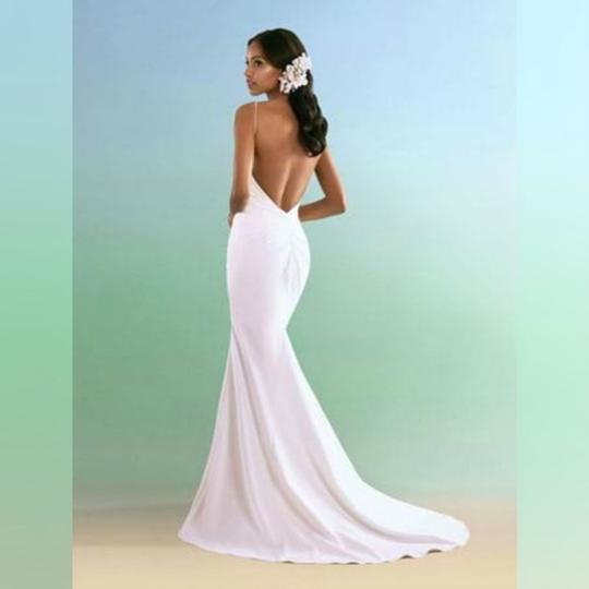 Alfred Angelo Ivory With Alenon Lace Bodice - Style 601 Destination Wedding Dress Size 4 (S) Image 2