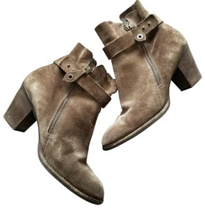 Paul Green Stacked Ankle Strap Exposed Zip Suede Comfortable Tan Boots