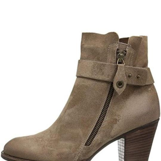 Paul Green Stacked Ankle Strap Exposed Zip Suede Comfortable Tan Boots Image 4