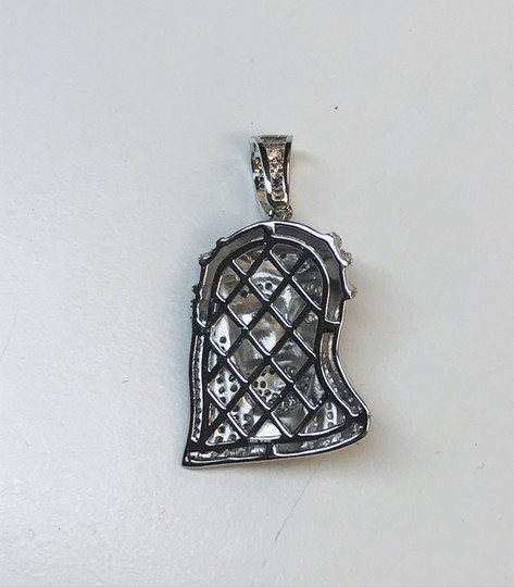 Sparkle Discount Jewelry 925 Sterling Rhodium Plated Jesus Piece with CZ Image 1