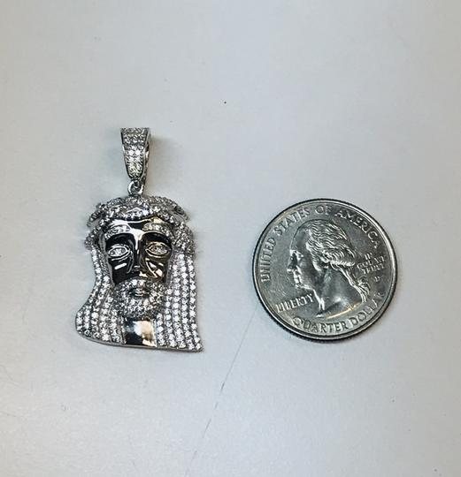 Sparkle Discount Jewelry 925 Sterling Rhodium Plated Jesus Piece with CZ Image 2