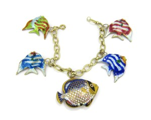 Other Multi-Color 14k Gold Enamel 5 Fish Charms Chain Bracelet