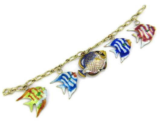 Other Multi-Color 14k Gold Enamel 5 Fish Charms Chain Bracelet Image 1
