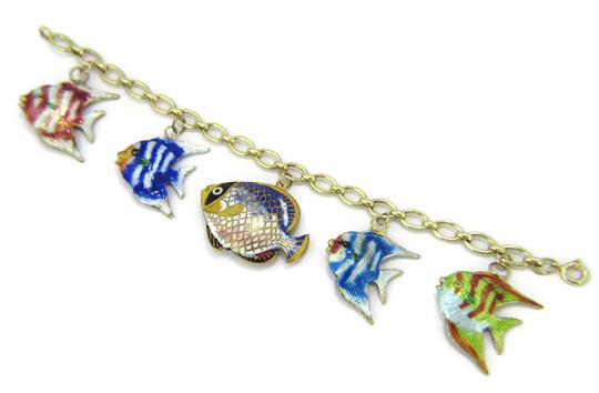 Other Multi-Color 14k Gold Enamel 5 Fish Charms Chain Bracelet Image 2