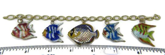 Other Multi-Color 14k Gold Enamel 5 Fish Charms Chain Bracelet Image 3