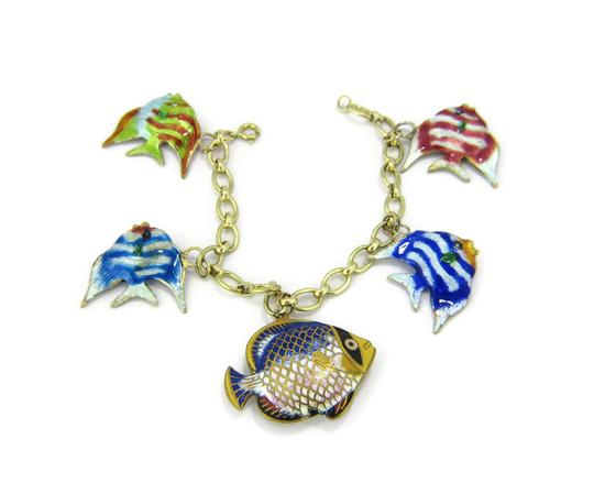 Other Multi-Color 14k Gold Enamel 5 Fish Charms Chain Bracelet Image 4