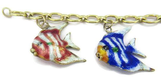 Other Multi-Color 14k Gold Enamel 5 Fish Charms Chain Bracelet Image 5