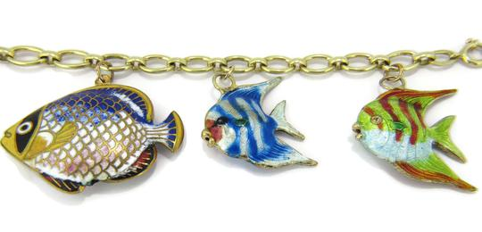 Other Multi-Color 14k Gold Enamel 5 Fish Charms Chain Bracelet Image 6