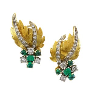 Other 18K Yellow Gold Leaf Themed 1CT Diamond Estate Earrings #18390