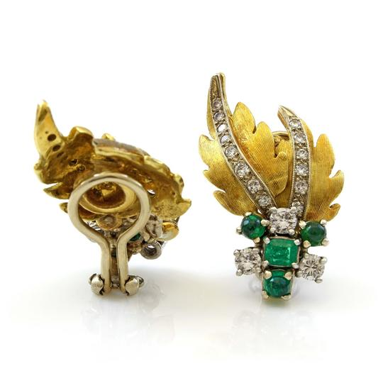 Other 18K Yellow Gold Leaf Themed 1CT Diamond Estate Earrings #18390 Image 1
