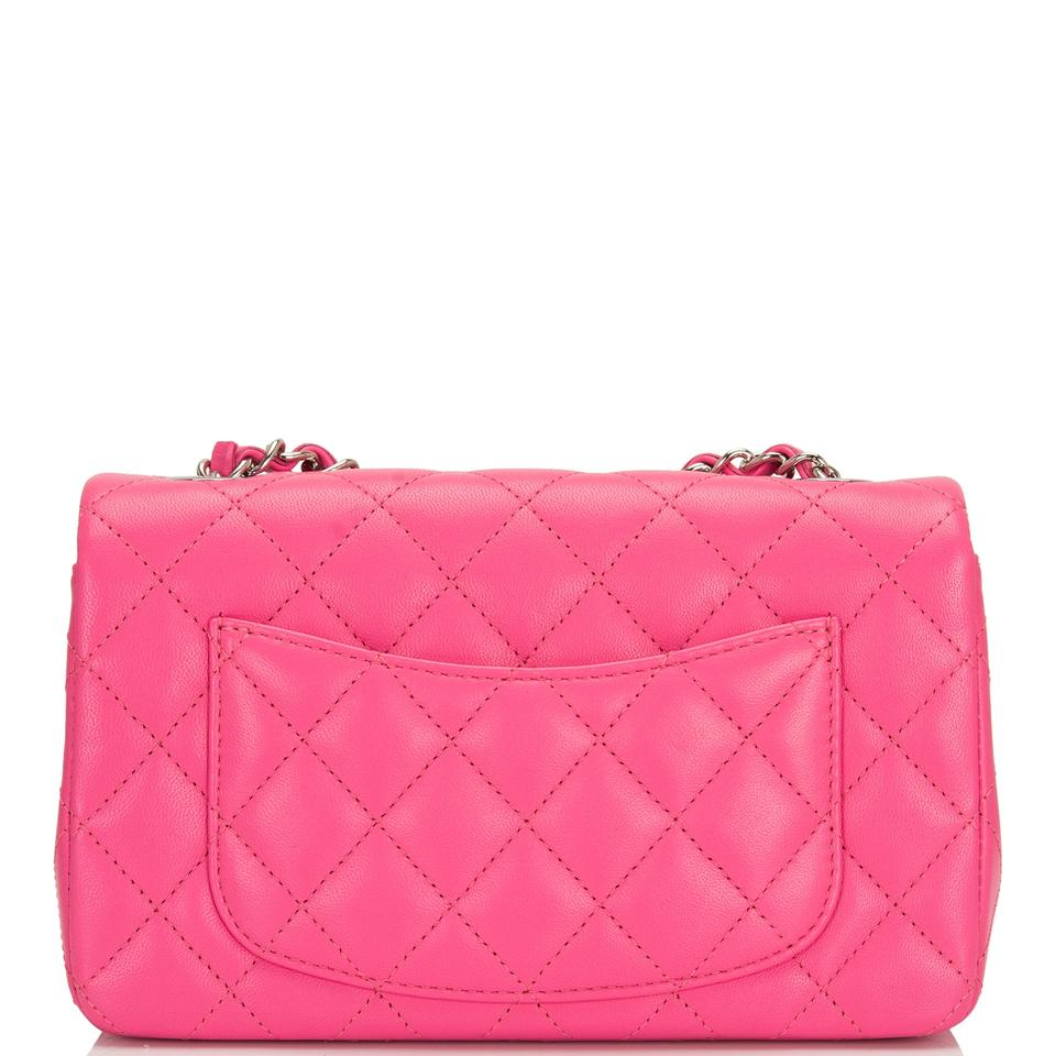 63033fbe3b0c1f Chanel Classic Flap Quilted Lambskin Rectangular Pink Leather Cross ...