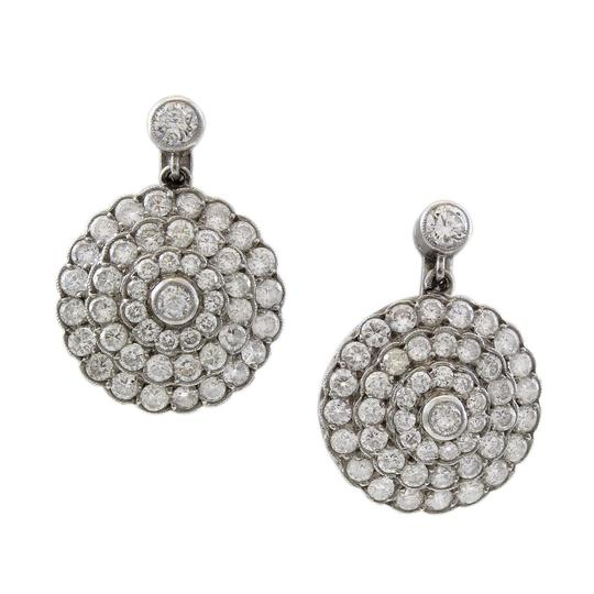 Other Platinum 2.5CT Diamond Antique Flower Cluster Drop Earrings Image 2
