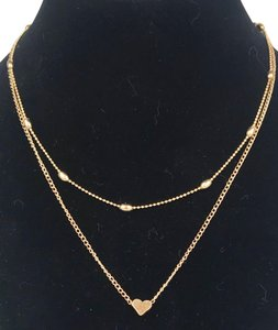 Unbranded yellow gold tone double chain necklace love heart 15