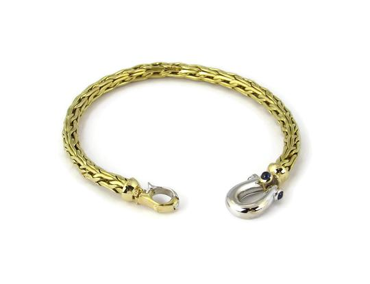 Roberto Coin Sapphire 18k Two Tone Gold 5mm Thick Woven Bracelet Image 1