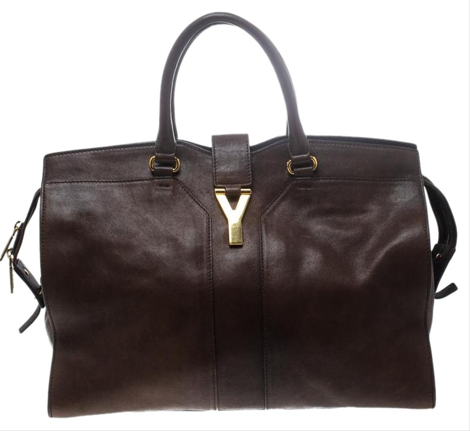 ffc549559bc5 Saint Laurent ChYc Large Cabas Brown Leather Tote - Tradesy