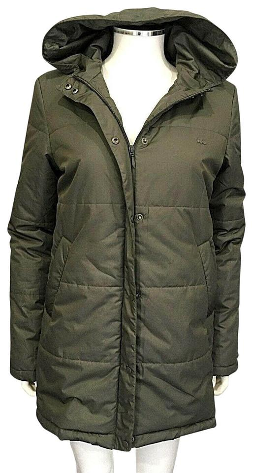 c73562cb610a18 Lacoste Light Army Green Hooded Puffer Jacket Surplus Fr 38 Us M Coat