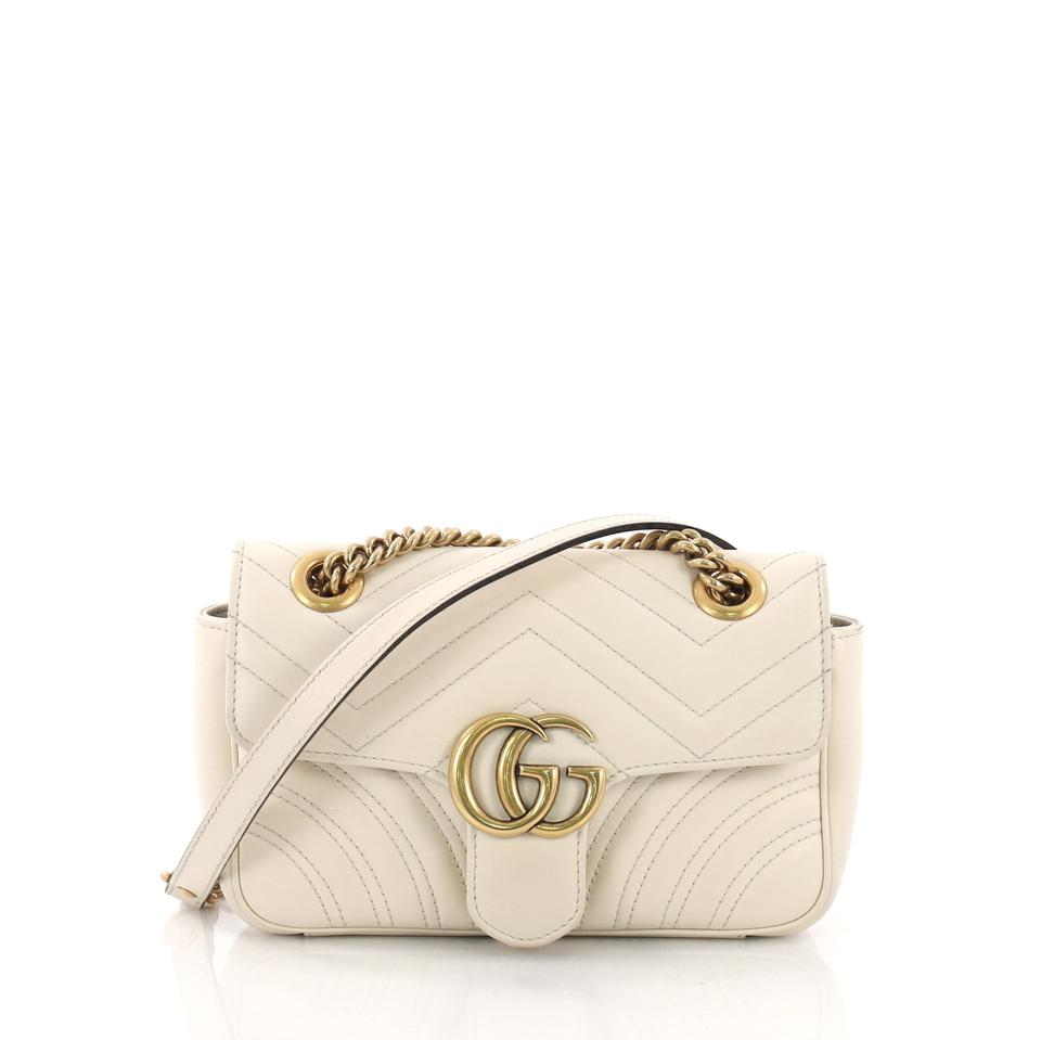 5157b0ab47e1 Gucci Marmont Gg Flap Matelasse Mini Off-white Leather Shoulder Bag ...