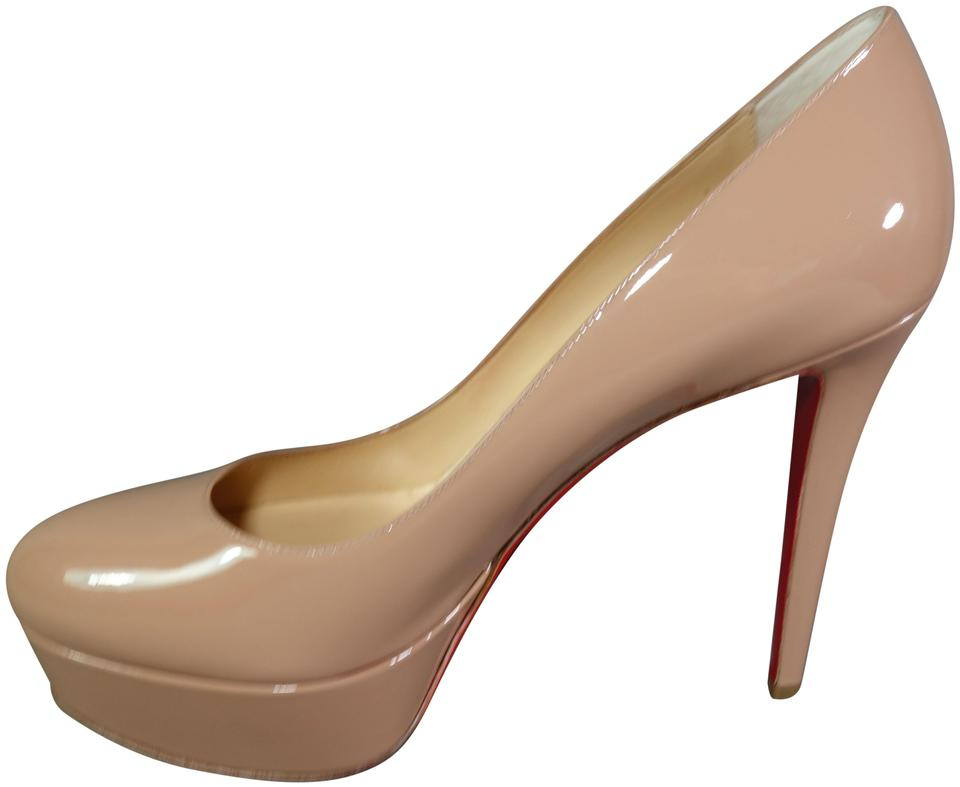 a5da4ca5ded1 Christian Louboutin Nude Neutral Bianca 120 Patent Leather Pumps Heels  Round Toe New Platforms