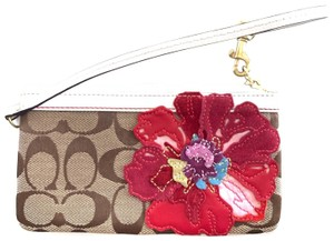 Coach Wristlet in brown, red & white
