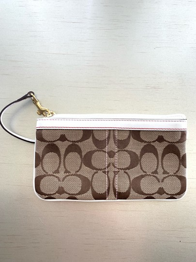 Coach Wristlet in brown, red & white Image 1