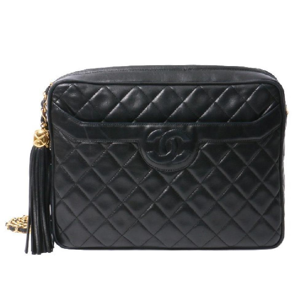 b7f9220da924ae Chanel Camera Vintage Tassel Quilted Crossbody Black Lambskin ...