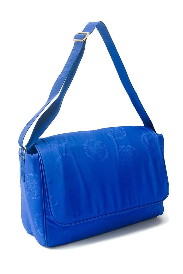 735e3a33b224 Versace Medusa Tonal Logo Covered Blue Nylon Diaper Bag - Tradesy