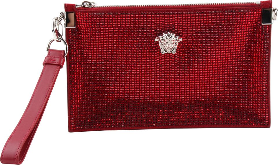f323f732d5c Versace Crystal Medusa Pouch Red Leather Clutch - Tradesy