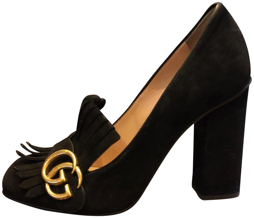 77fd24a30b17 Gucci Black Marmont Women s Gg Suede Fringe Loafer Mid-heel Pumps  Platforms. Size  US 7.5 Regular (M ...