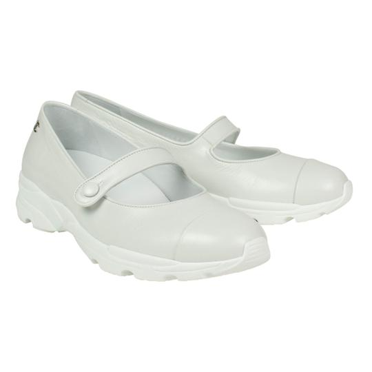 Chanel Calfskin Mary Jane Strap Sneaker White Flats Image 1