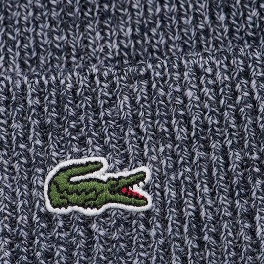 Lacoste BRAND NEW MEN'S LACOSTE (RB3502) TURNED EDGE RIBBED WOOL BLUE BEANIE H Image 1