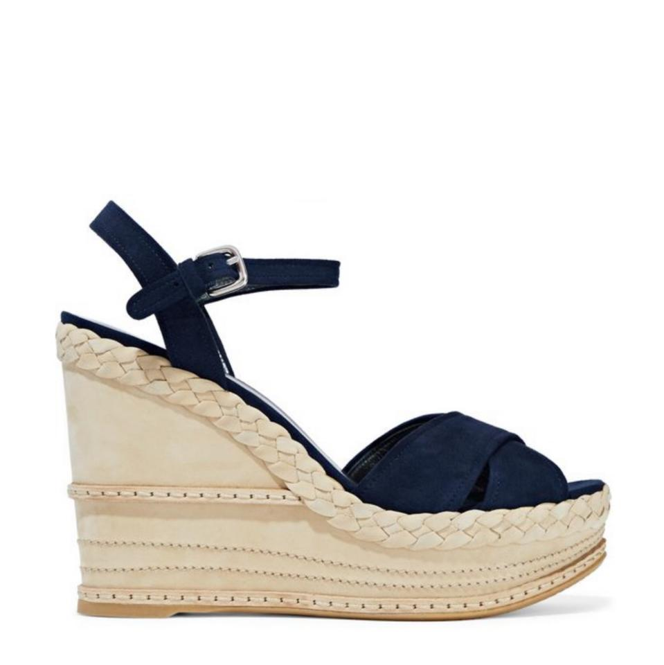 01e25ce27774 Stuart Weitzman Navy Blue Tan Suede Crossover Strappy Heels Wedges ...